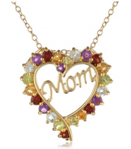 Gold and Gem Mom Pendant