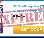 **HOT** $2/2 Reach Toothbrushes Coupon 