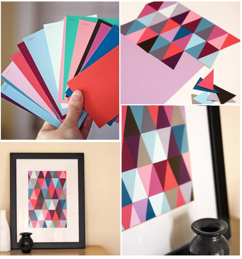 Diy paint chip wall art for Art and craft for wall decoration