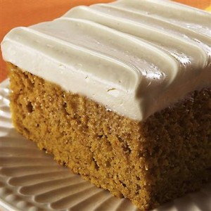 pumpkincake with cream cheese frosting
