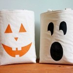 DIY Cereal Box Stencil Halloween Candy Tote Bags
